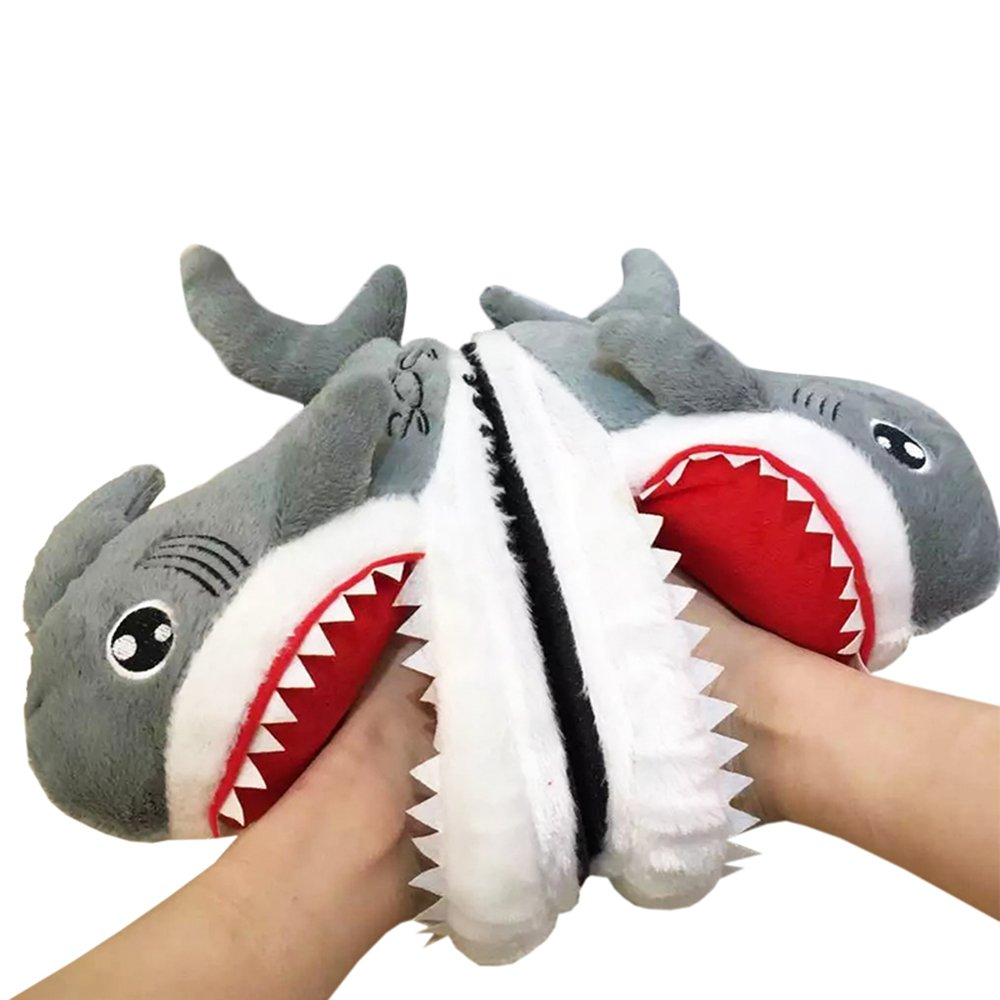Rains Pan Animal Grey Shark Head Plush Slippers Thick Sole Non-Slip House Shoes Gifts Unisex