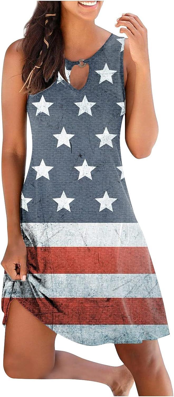 WUHOVILA Summer Dresses for Women Casual Halter Neck Sleeveless Mini Dress Round Neck Cute Dress