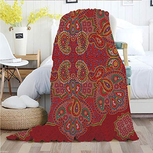 - Red Mandala,Throw Blankets,Flannel Plush Velvety Super Soft Cozy Warm with/Moroccan Persian Design Oriental Rectangular Paisley Floral Print Decorative/Printed Pattern(70