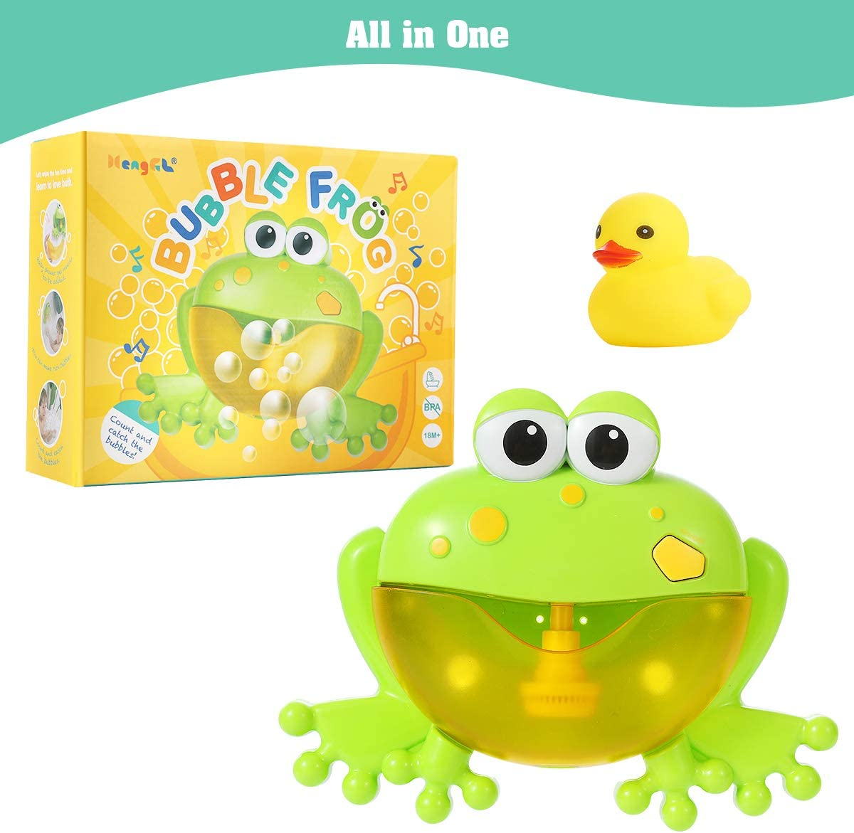 Frog bubble maker, in green and yellow color, with rubber duck