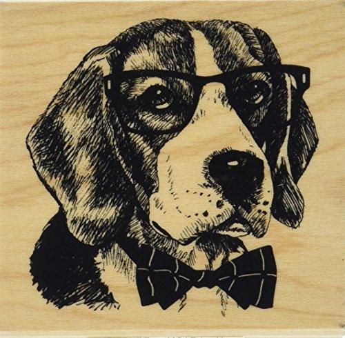 - Inkadinkado Nerdy Dog Wood Stamp for Scrapbooking, 3'' L x 3'' W