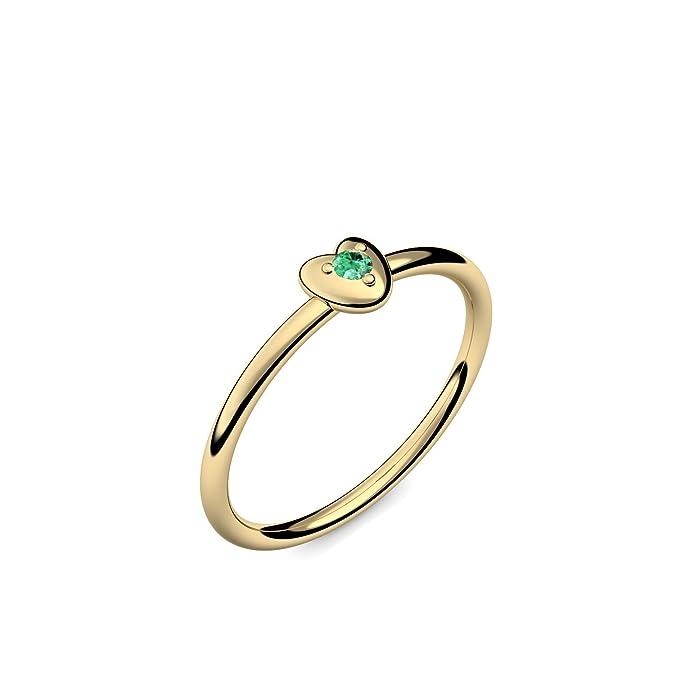Anillo de oro 585 Esmeralda + Incluye Luxus Funda + Libre de Porto Esmeralda Anillo Oro Anillo Esmeralda oro (Oro Amarillo 585) - Cute Heart amoonic joyas ...