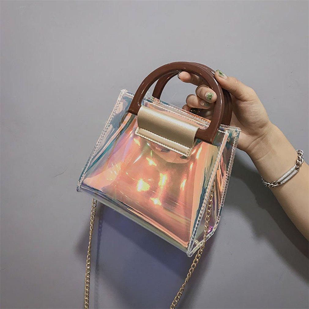 db0c6c69cb7c Amazon.com: UKEDKC Pu Leather Holographic Shoulder Bag Chain Luxury ...