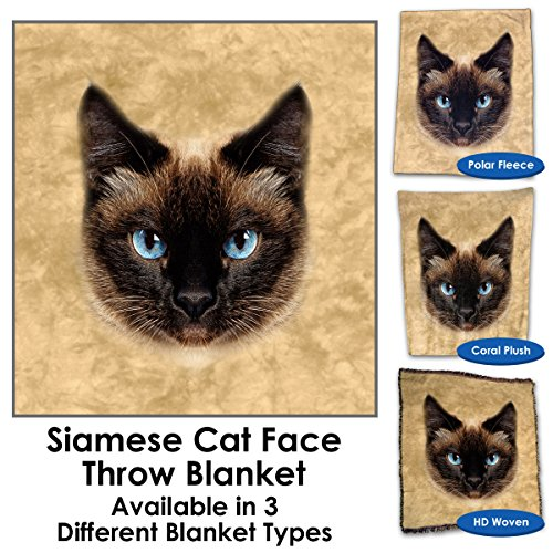 (GG Promo Siamese Cat Face Throw Blanket/Tapestry Wall Hanging (Polar Fleece, 60