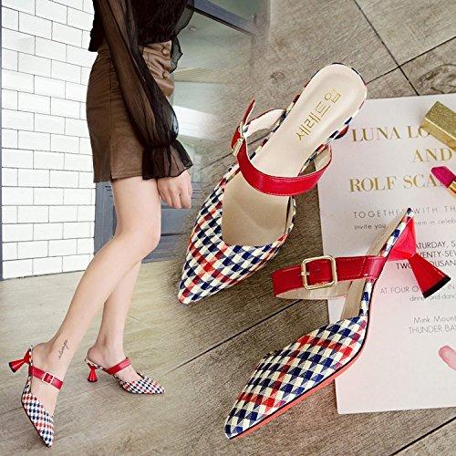 Zapatillas Mujer Pintura La De Calzado Zapatos Baotou De GAOLIM Punta Color Ranurada Mitad De Los Tacón Con roja Butt De Zapatillas cuadrícula Zapatos Cool Con El Alto Fino Amarre FwU46