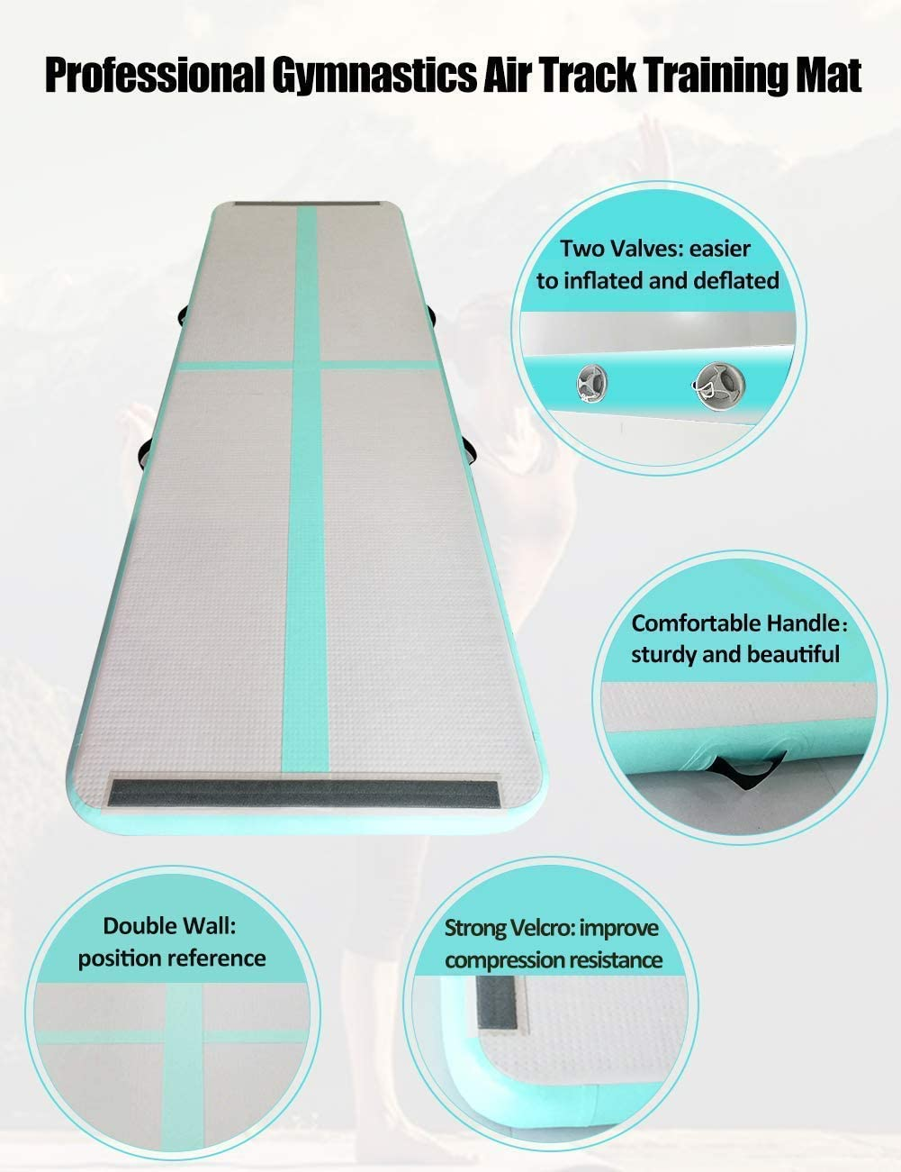 Cheerleading Yoga Gym AIRMAT FACTORY//Ejia Air Track Gymnastics Tumbling AirFloor mat with Gwind Electric Pump//Tokyo Championship//for Fitness,Schools Home