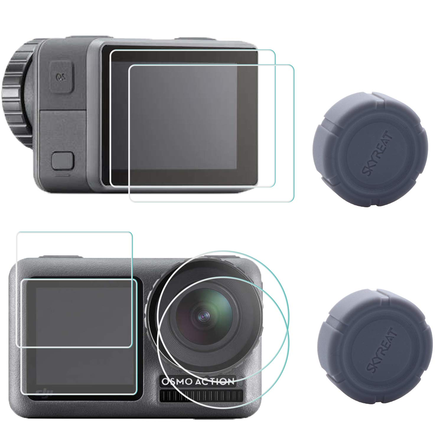 Skyreat Screen Protector Film + Lens Cap Cover Protective Accessories for DJI Osmo Action Camera 2-Pack by Skyreat