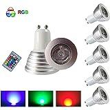 HHD® Lot de 5 RGB Ampoule LED 3W 16 Couleurs Changement Coloré RGB LED Bulb 250-270LM LED avec Télécommande à Boutons AC95-240V [Classe énergétique A+]