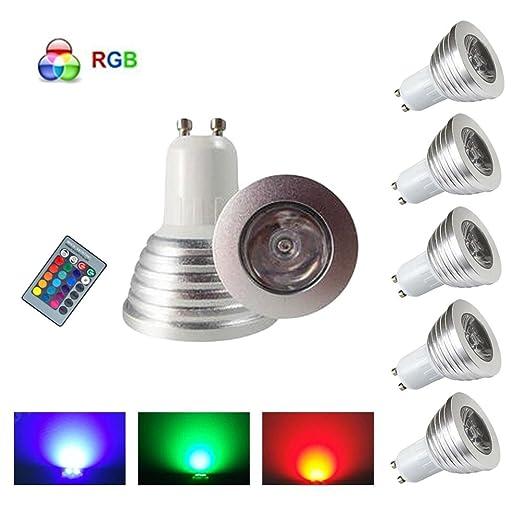 HHD® – Juego de 5 bombillas LED RGB de 3 W, 16 colores que