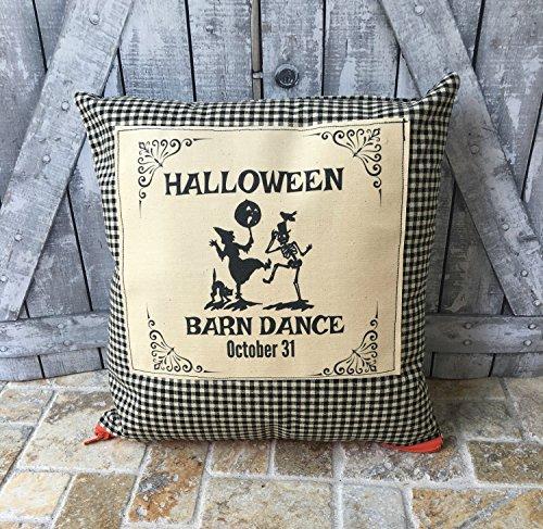 Halloween Pillow, Halloween Barn Dance,Dancing Witch,Dancing Skeleton, Halloween Decoration, Fall Decor, Halloween Decor,Primitive (Fall Dance Decorations)
