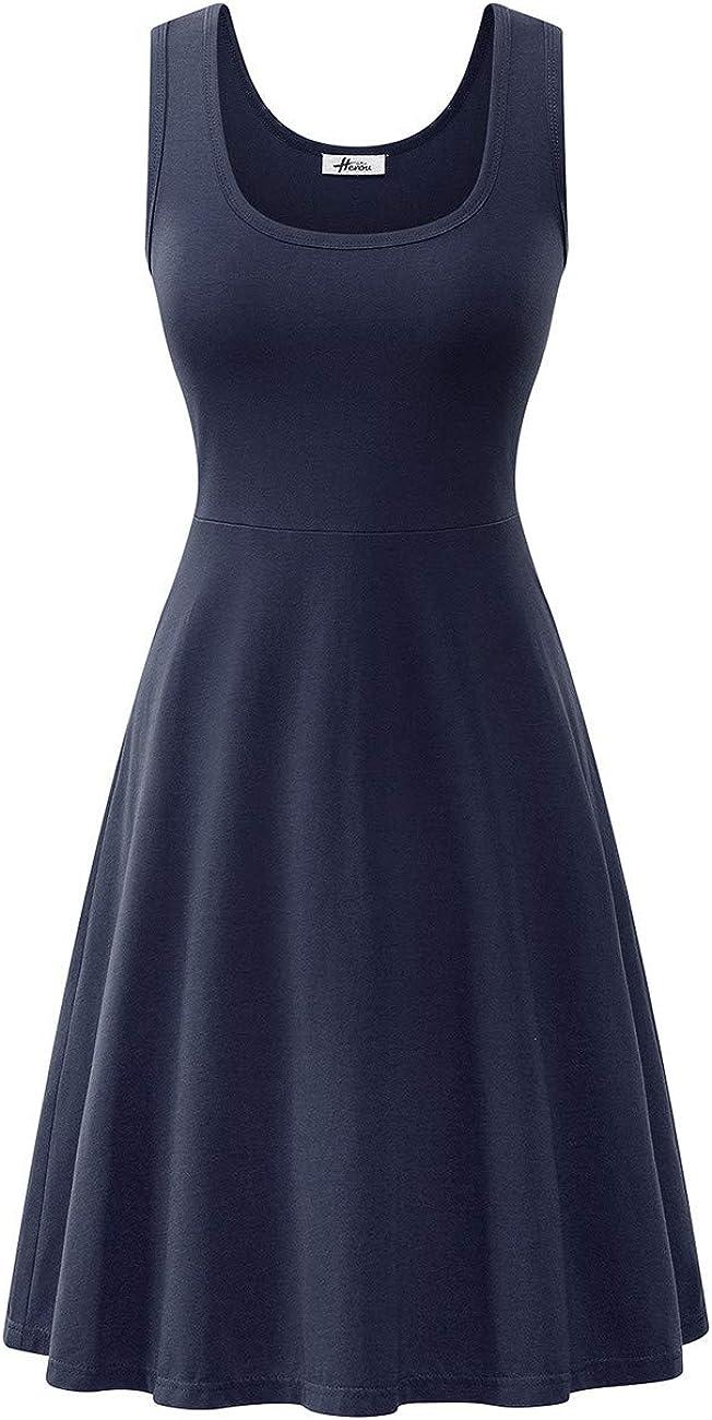 Herou Women Summer Casual Sleeveless A-Line Sun Dresses