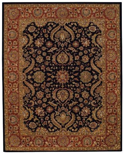 Capel Rugs Monticello-Palmetto Rectangle Hand Tufted Area Rug, 5 x 8, Onyx/Rust