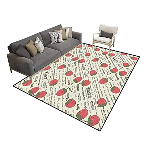 Amazon.com: Floor Mat, Retro Valentine Theme with Strawberry ...