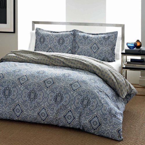 City Scene Milan Blue Duvet Cover Set, (King Duvet Ensemble)