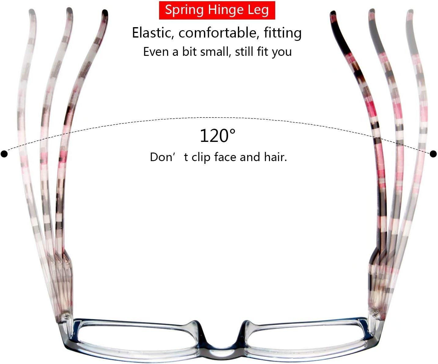 Petites lunettes de lecture incassables grossissantes pour femmes Charni/ères /à ressort noires Lunettes de lecture rectangulaires
