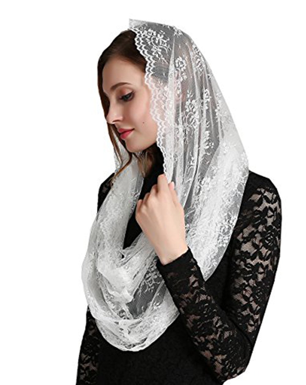 Ivory Hotsale Chapel Church Veil Lace Catholic Mantilla infinity veil v43 (Wrap)