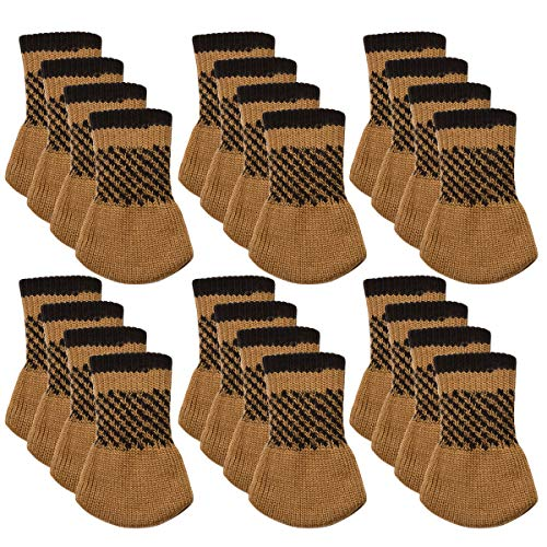Chair Socks, Outgeek 24 Pack Knitted Furniture Feet Socks Chair Leg Floor Protectors (Coffee)