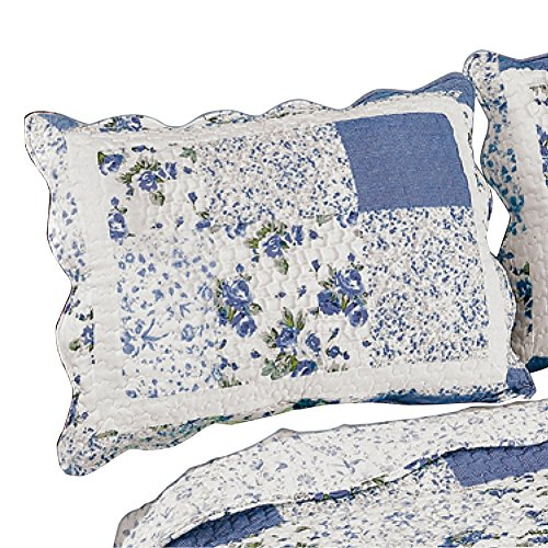 (Collections Etc Hadley Floral Patchwork Quilted Pillow Sham, Blue, Sham )