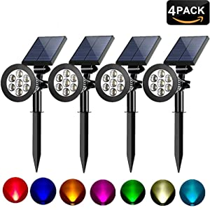 MEIO Colored Solar Spotlight, 7 LED Adjustable Landscape Lighting, Waterproof Wall Light Solar Lights Outdoor with Auto On/Off for Garden Decorations (Changing Color & Fixed Color)(4 Pack)
