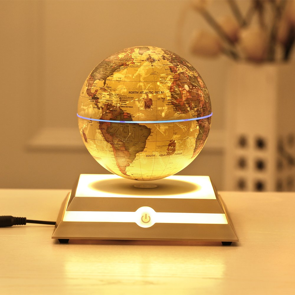 KABADDI Magnetic Floating Rotating Globe Anti-Gravity Levitating Globe World Map with Star Constellation Display for Home Office Desk Decor, Kids Educational Gift(6 inch Vintage Gold)