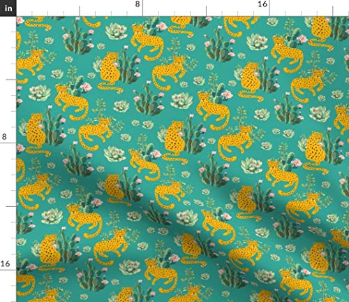Spoonflower Leopard and Cactus on Teal Fabric - Leopard Leopard Jungle Zoo Cactus Succulents Boho Bedding by Shopcabin Printed on Organic Cotton Knit Ultra Fabric by The Yard