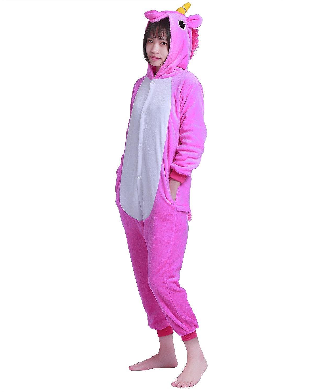 8999316a12134 Freebily Unisexe Enfants Pyjama Combinaison À Capuche Mignon Licorne  Animaux Déguisement Cosplay Costume Garçon Fille Vêtements