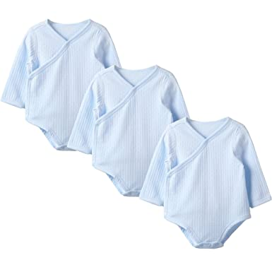 b07acf37099f GLEAMING GRAIN Neutral Baby Kimono Bodysuit Side Snap Organic Onesies Set  of 3, (Blue