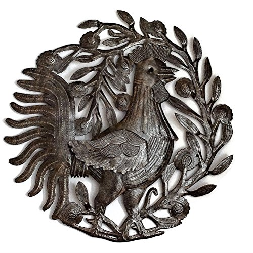 Metal Rooster, Country Kitchen Wall Art, Sturdy Artistic Design from Haiti 15.5