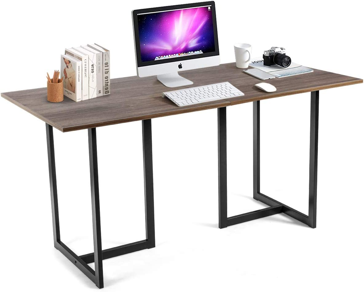 Tangkula 60 inch Computer Desk, Large Writing Table, Modern Versatile Writing Desk with Spacious Desktop, Computer Workstation Study Table Home Office Desk Light Brown