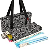 American-Wholesaler Linda Li American Mah Jongg Set with Soft-Sided Quilted Design Black Paisley Print Carrying Case, 166 Ivory Tiles