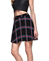 TOFLY Plaid Skirt - Women Stretchy Printed Pleated Skater Mini Skirts Plus Size