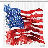 Amoy Lefan American Flag Decor Shower Curtain, National Paint Brush Watercolor Digital Stroke Messy Graffiti Artsy Decor, Fabric Bathroom Decor Set with Hooks, 72 Inch,Red Blue