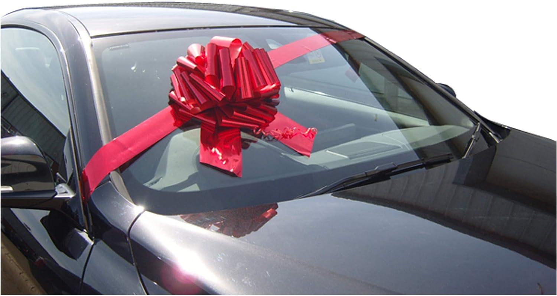 Lazo gigante para regalo de 30,5cm más 3 metros de cinta, para coches, bicicletas y regalos grandes de cumpleaños y Navidad, color rojo metálico
