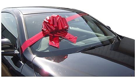 Lazo gigante para regalo de 30,5 cm más 3 metros de cinta, para coches, bicicletas y regalos grandes de cumpleaños y Navidad, color rojo metálico
