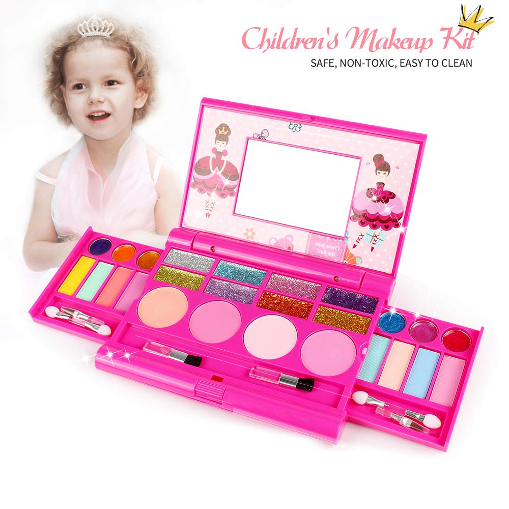 Tomons Kids Washable Makeup Kit, Fold Out Makeup Palette with Mirror, Make Up Toy Cosmetic Kit Gifts for Girls - Safety Tested- Non Toxic by Tomons