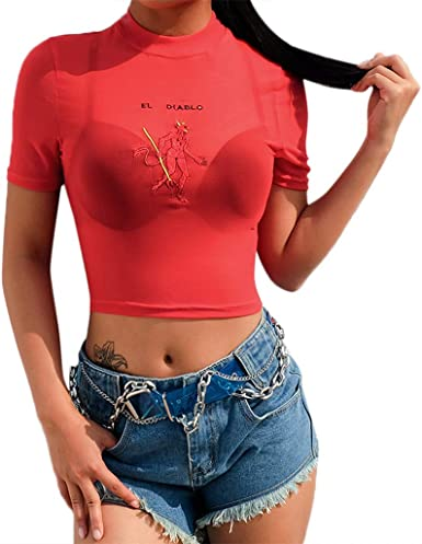 Oliviavan Camisetas de Mujer, Verano Mujer Moda Sexy Color Sólido Cuello Redondo Manga Corta Bordado Tul Párrafo Corto Slim Fit Confort Transpirable Camisa Camiseta Tops: Amazon.es: Ropa y accesorios