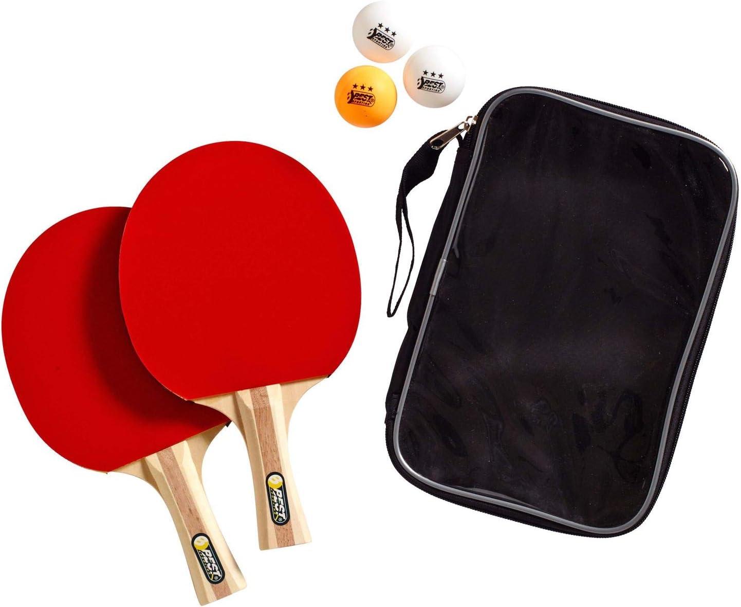 Best Sporting Juego de Tenis de Mesa 2–Raqueta de Tenis de Mesa 3Pelotas y Funda