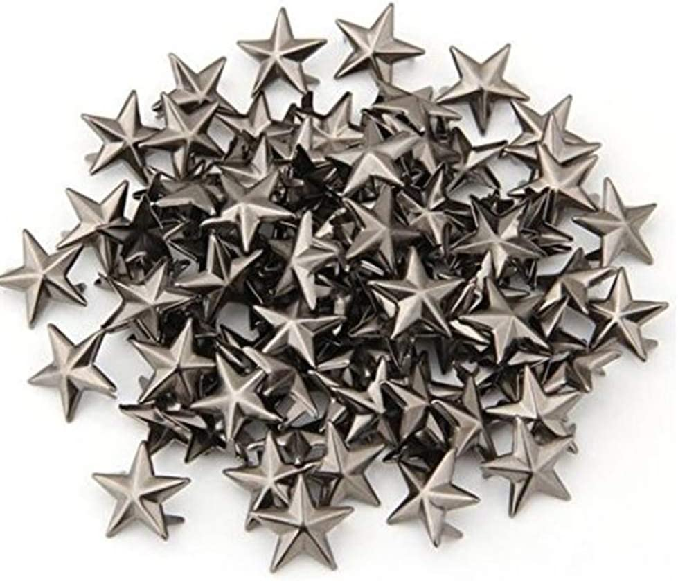 15MM Five-Pointed Star Rivet Applique 100 packs100 PCS 15MM Pentagram Shaped Studs Spots Durable Metal Nailheads Fasteners Silver