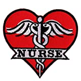 "Hot Leathers, NURSE HEART, High Thread Embroidered Iron-On / Saw-On, Heat Sealed Backing Rayon PATCH - 3"" x 3"""