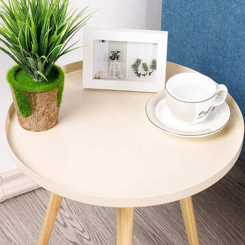 Table d\'appoint, End Table Ronde en métal café Table d\'appoint Plante des Pieds de Table Stand en Bois avec 42cm Haut Plateau et 50cm Hauteur for Living Room (Color : Beige) Beige