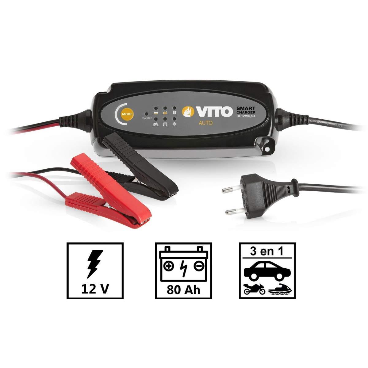 94ae6fb983484 Chargeur de batterie intelligent voiture, moto, jet ski VITO - 12V ...