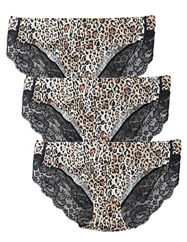 LIQQY Women's 3 Pack Comfortable No Ride up Lace Trim Bikini Panty Underwear (Large, Leopard) ()