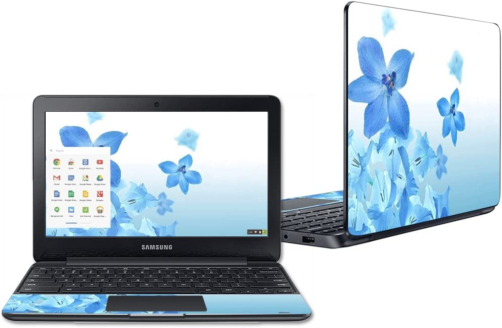"""Mightyskins Skin Compatible with Samsung Chromebook 3 11.6"""" - Blue Flowers 