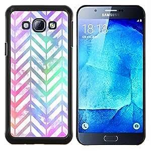 KLONGSHOP // Cubierta de piel con cierre a presión Shell trasero duro de goma Protección Caso - Patrón iridiscente trullo púrpura - Samsung Galaxy A8 A8000 //