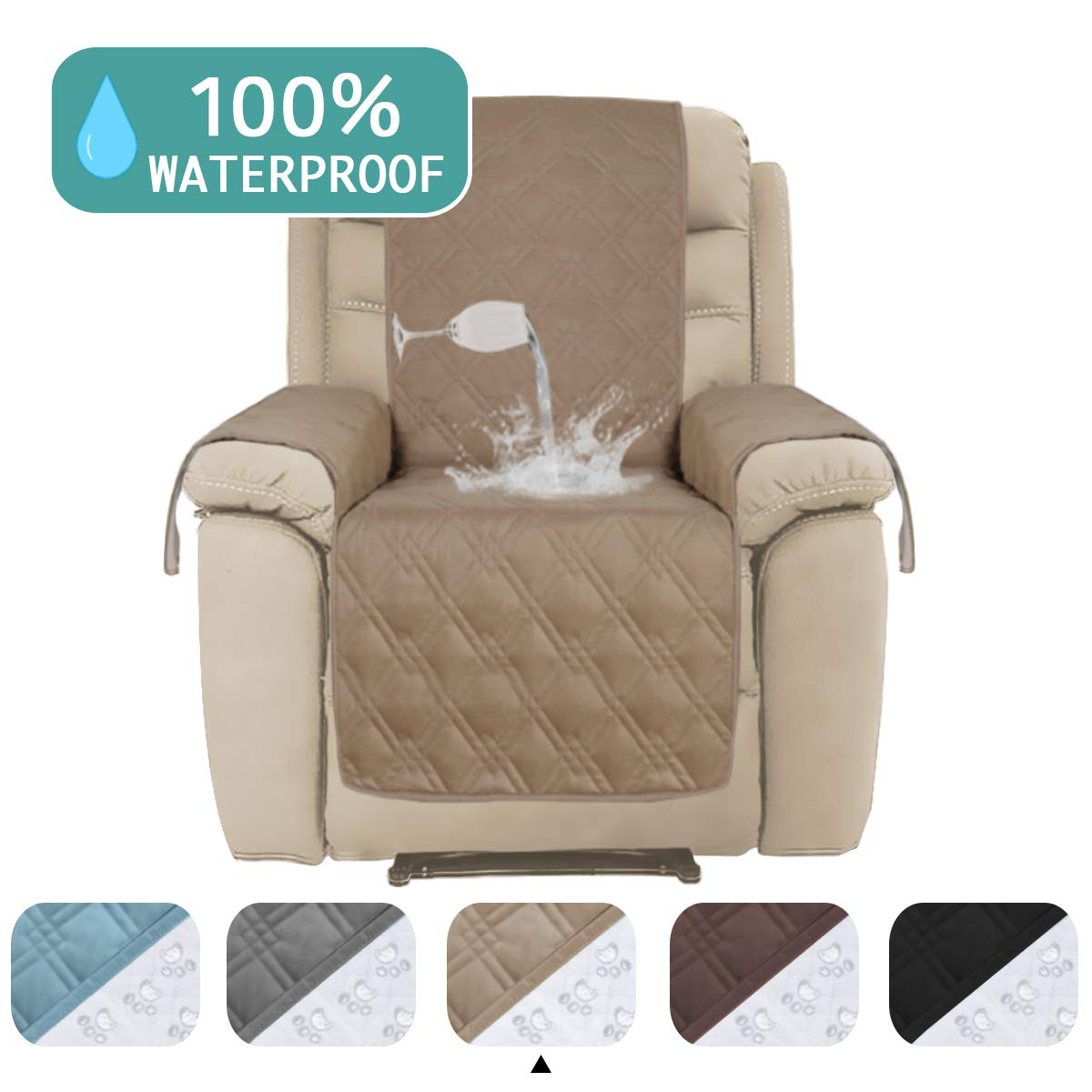 Turquoize Waterproof Sofa Covers for Large Recliner Chair Cover Quilted Furniture Cover Protector for Living Room Non-Slip Sofa Protector for Oversize Larger Recliner Taupe -91 x 84 - Inch by Turquoize