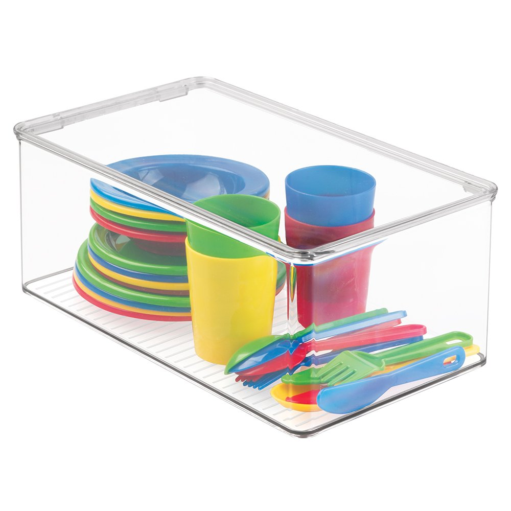 mDesign Kids/Baby Toy Storage Box, for Action Figures, Cars, Crayons, Puzzles - 12.75'' x 7.25'' x 5.25'', Clear