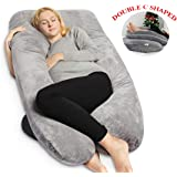 QUEEN ROSE Pregnancy Pillow with Velvet Cover- U Shaped Maternity Body Pillow for Back,Gray