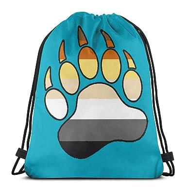 cc536e41836e Amazon.com: Gay Bear Pride Paw Drawstring Bags Gym Bag Thick Straps ...