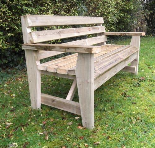 Banco de jardín rústico Redwood sueco 120 cm: Amazon.es: Jardín