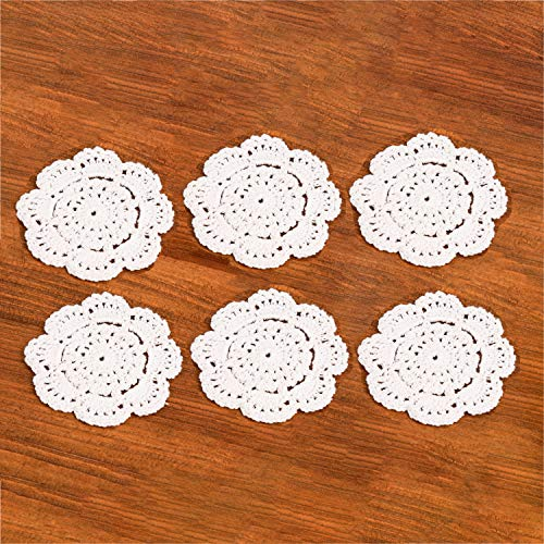 EiYYA 4inch Small Handmade Cotton Crochet Doilies Lace Coasters Placemats, 6-piece, White ()
